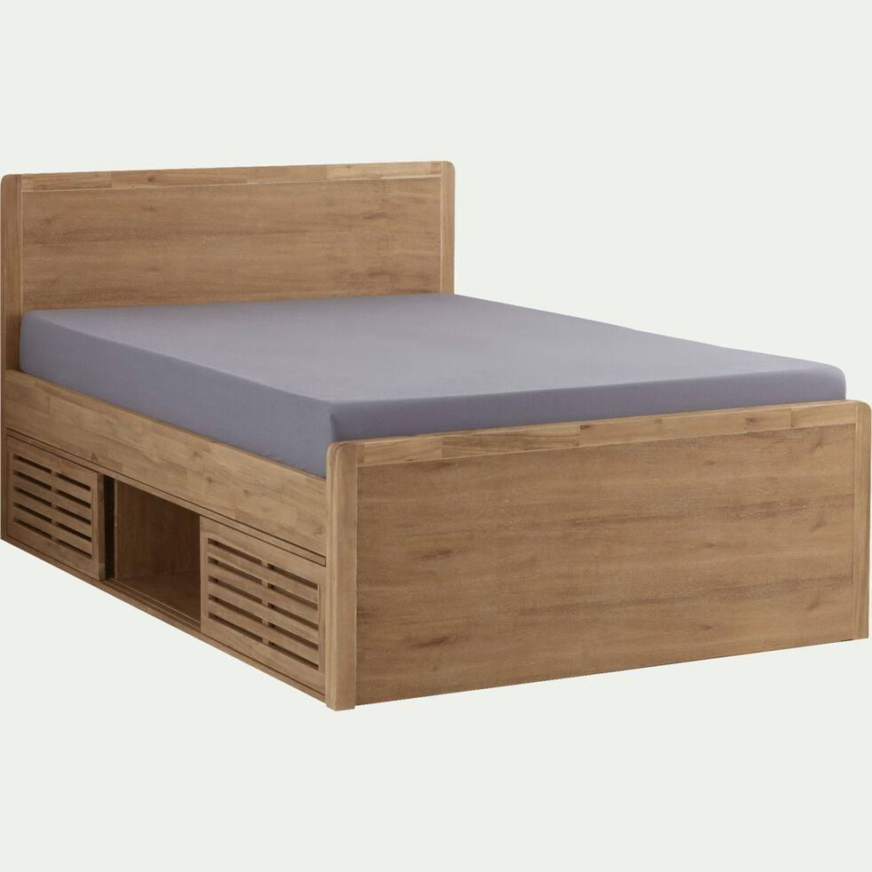 Lit 2 places avec tête de lit en acacia - 180x200cm-GAIA