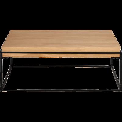 Table basse rectangulaire en acier et placage chêne-CESARINE
