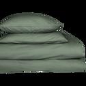 Drap housse en coton Vert cèdre 160x200cm-bonnet 25cm-CALANQUES
