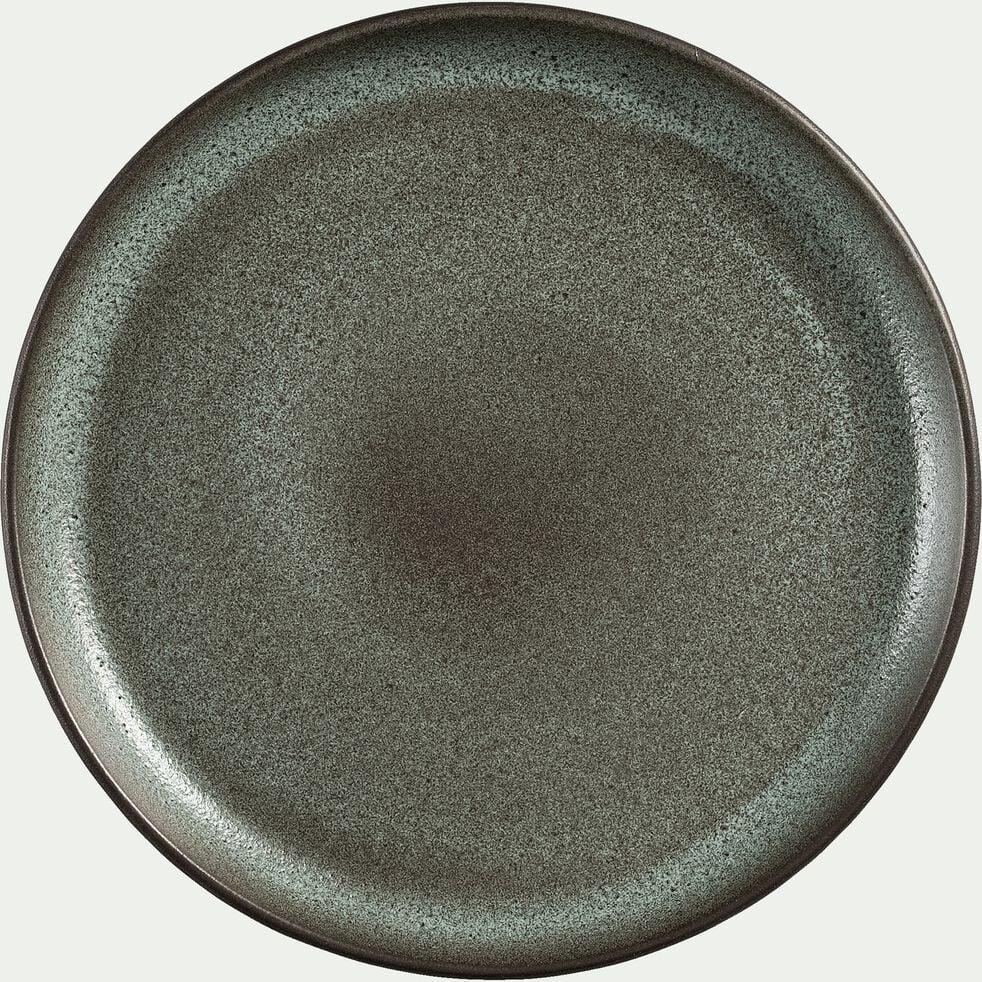 Assiette plate en faïence noir D27cm-LIBANO