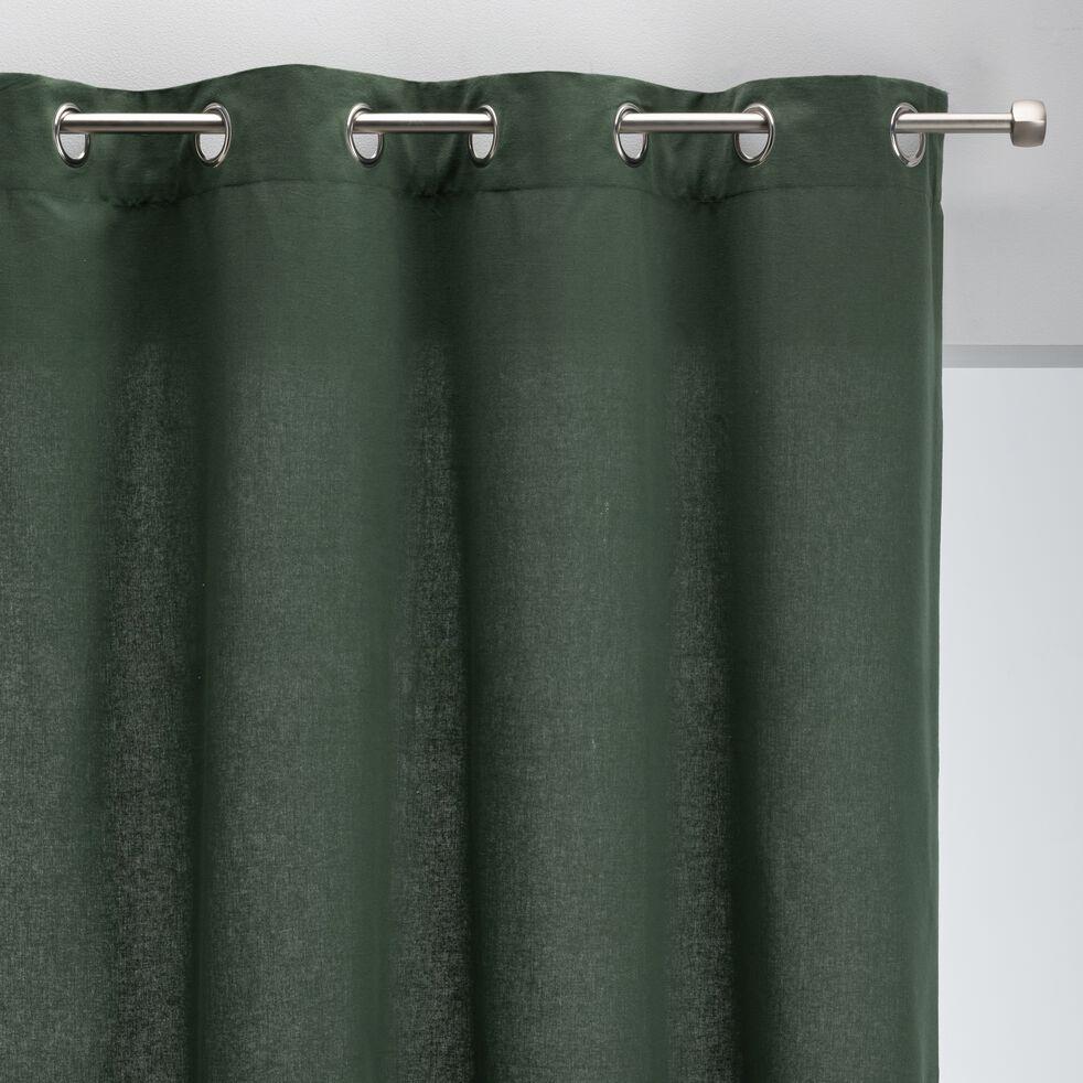 Rideau à œillets en coton - vert cèdre 140x250cm-CALANQUES