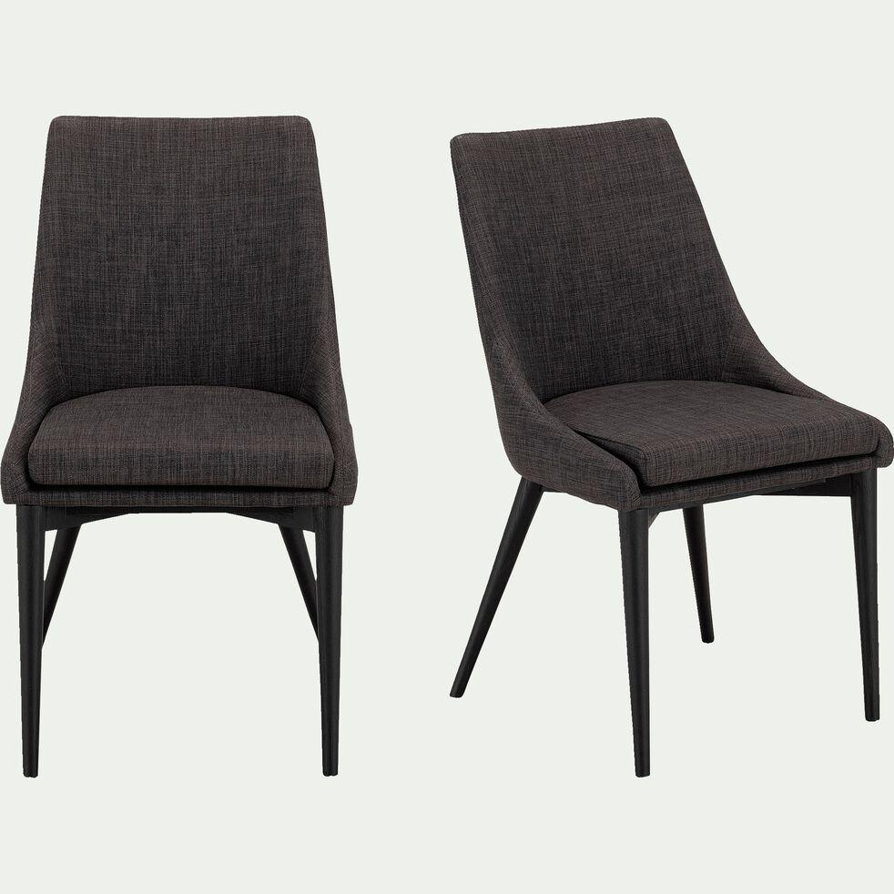 Chaise en tissu gris restanque pieds noirs-ABBY