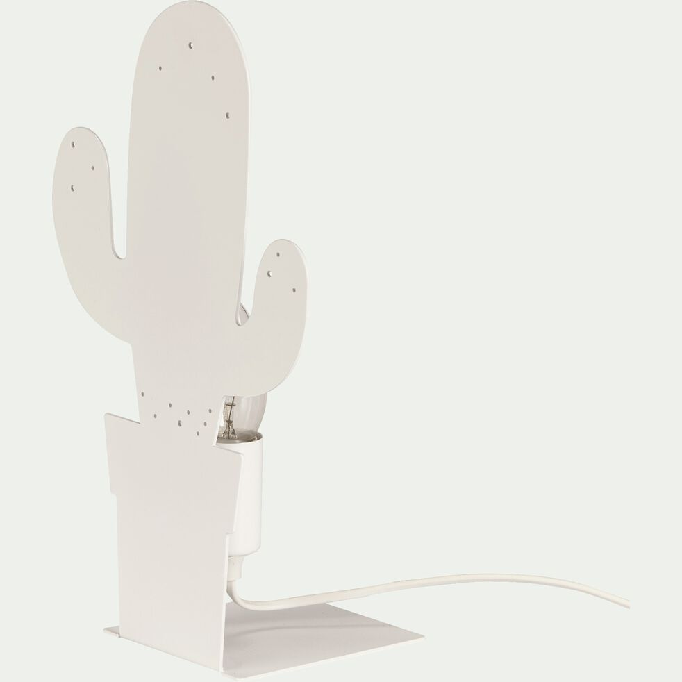 Lampe à poser forme cactus en métal blanc H32cm-CACTUS