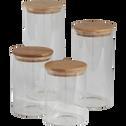 Bocal en verre H25cm avec couvercle en bambou-BILL