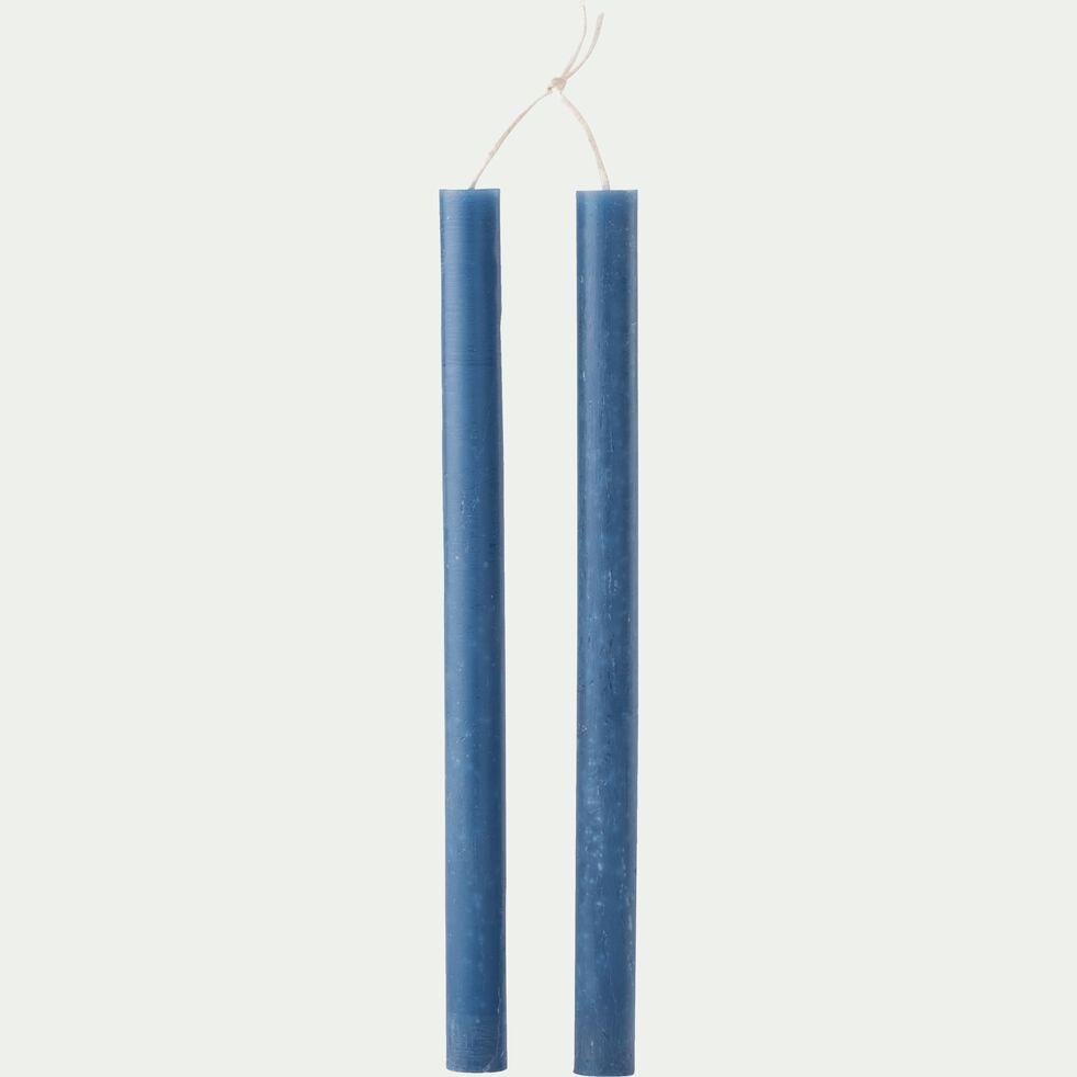Bougie duo de flambeau bleu myrte H30cm-BEJAIA