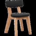 Chaise en tissu noir avec structure bois clair-AMEDEE