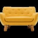 Canapé 2 places fixe jaune moutarde-POPPY