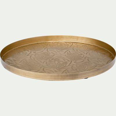 Plateau en métal doré D35cm-RIPA