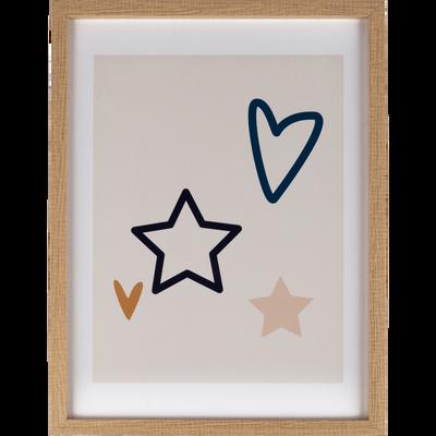 Image imprimée sur bois et encadrée 30x40 cm étoile et cœur-EMBRUN