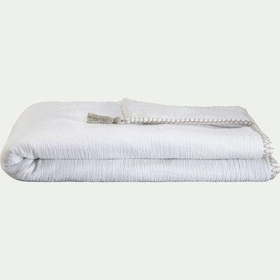 Plaid en gaze de coton 100x150 cm - Blanc Ventoux-AZALEE