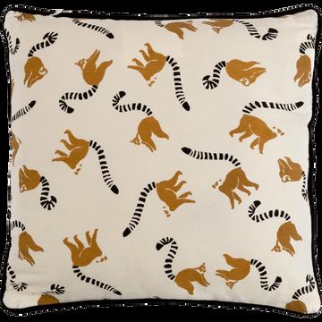 Coussin motif lémuriens 40x40 cm-GABION