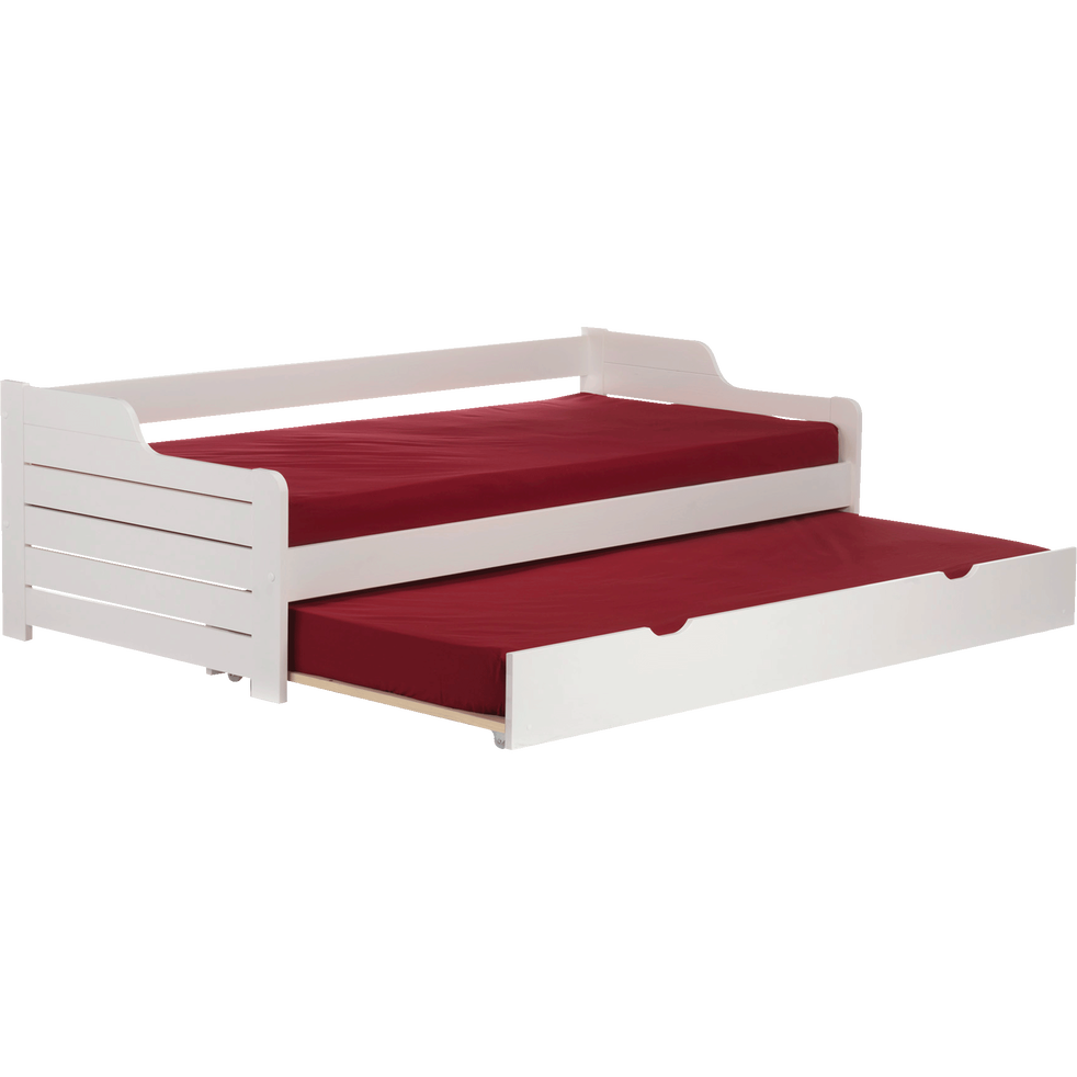 lit banquette gigogne en pin massif blanc 90x200 cm. Black Bedroom Furniture Sets. Home Design Ideas