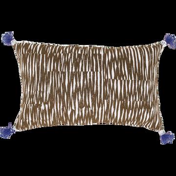 Coussin en coton à motif marron 50x70cm-OUMBRUN