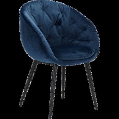 Fauteuil en velours bleu myrte-MANON