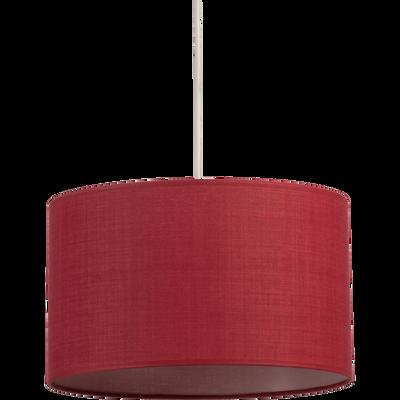 Suspension cylindrique en tissu rouge arbouse D40cm-MISTRAL