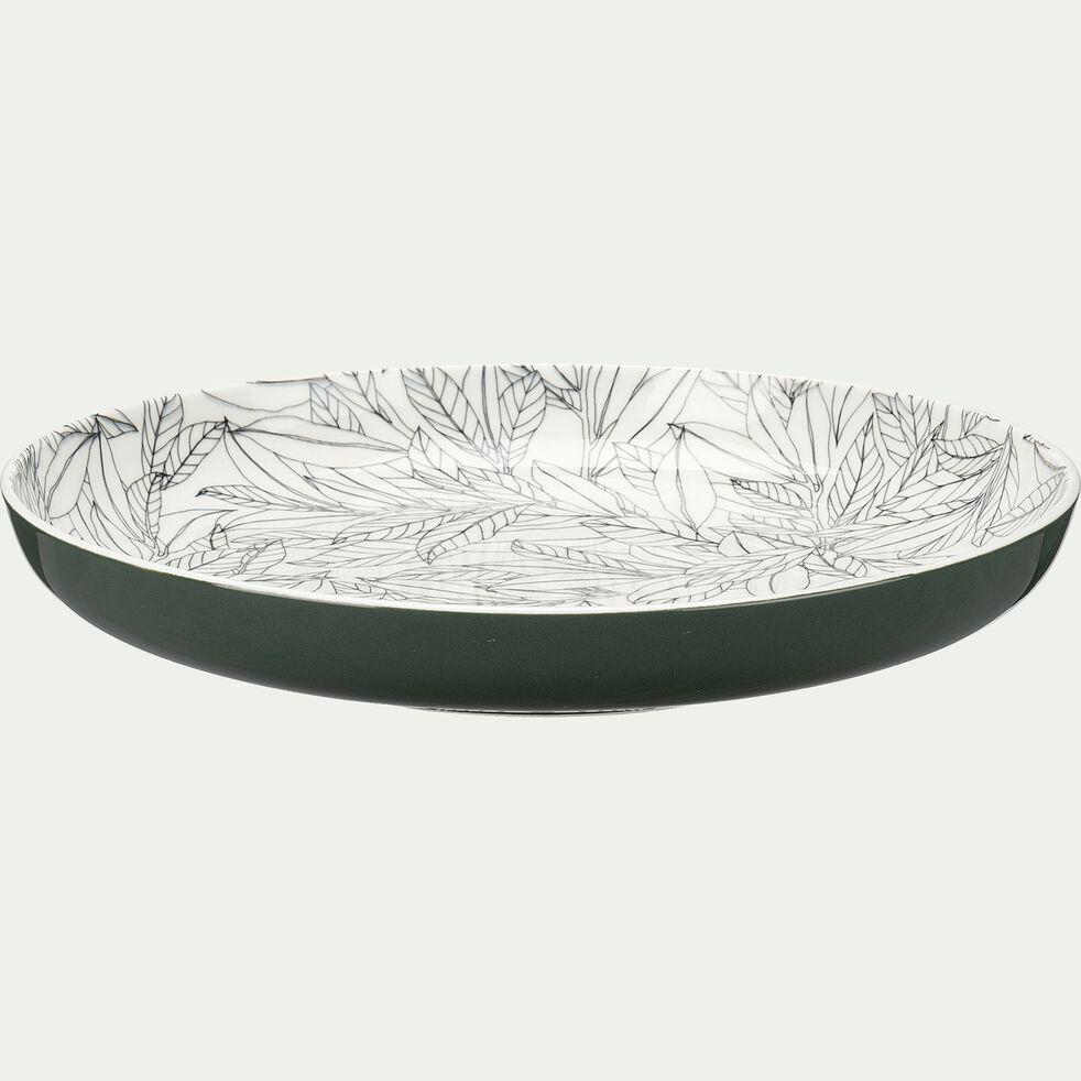 Assiette plate en porcelaine motifs laurier - vert cèdre D26,8cm-AIX