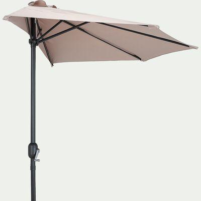 Demi-parasol avec manivelle - beige (grand modèle)-MONGEDO