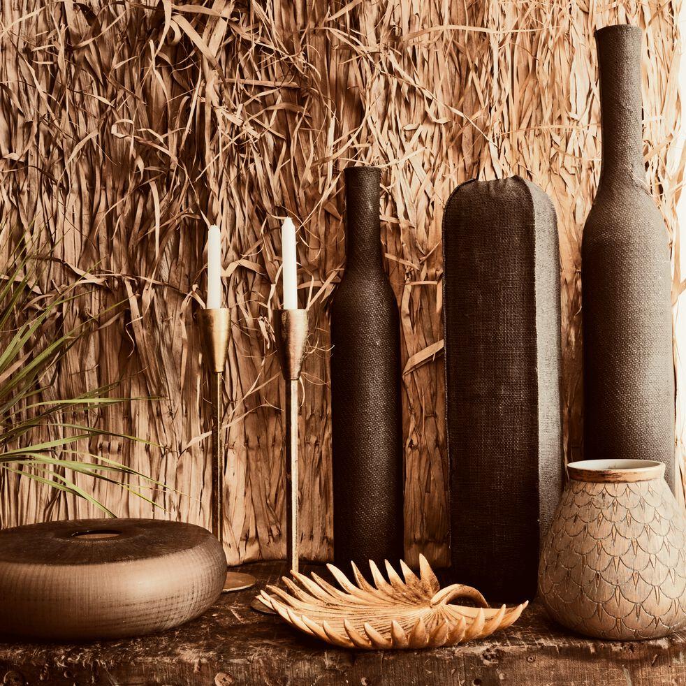 Vase en polyrésine aspect tissu - noir H62cm-ENZO
