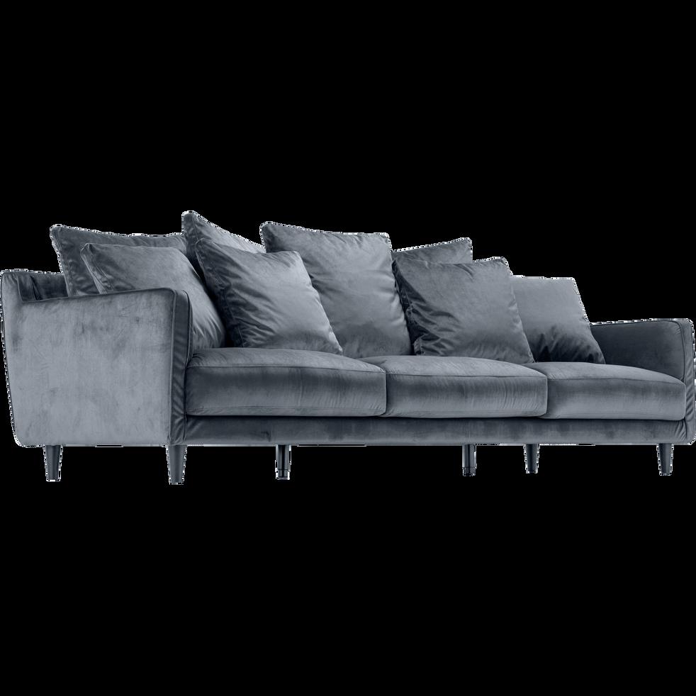 Canapé 5 places fixe en velours gris restanque-LENITA