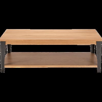 Table basse en chêne avec piétement en acier noir-MAUGUIO