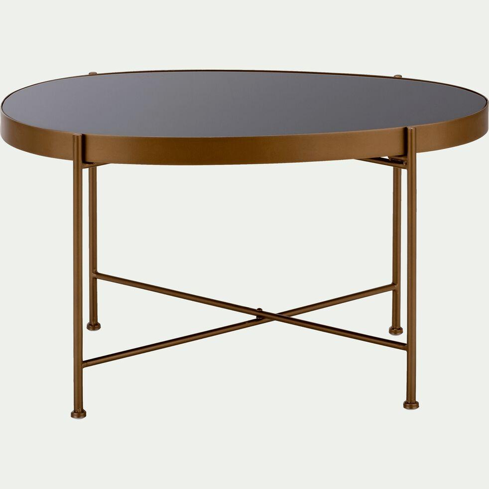 Table Basse En Acier Doree Avec Plateau En Verre Noir Bari