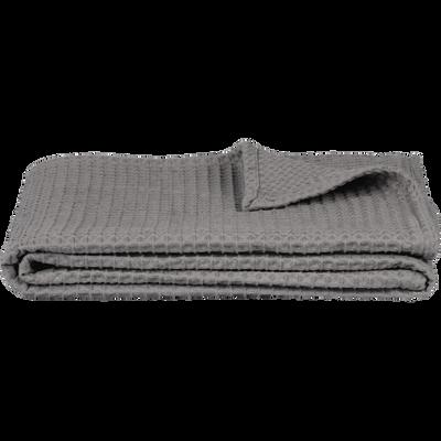Jeté de lit en coton gaufré gris restanque 180x230cm-GOYA