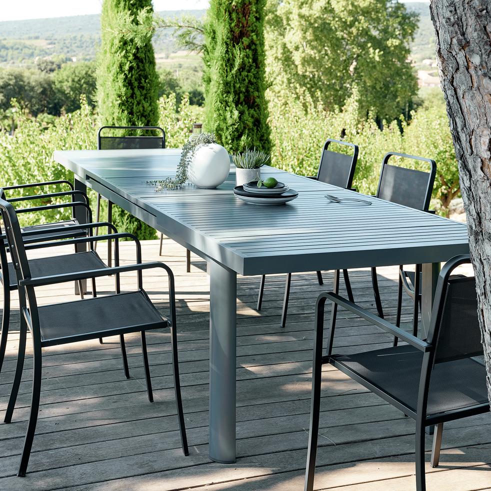 Table de jardin extensible en aluminium gris (8 à 12 places ...