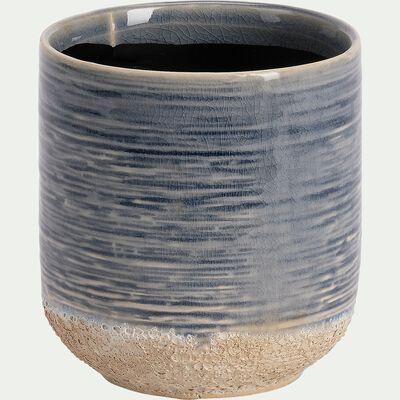 Cache-pot en céramique - bleu H11xD10 cm-ISSA