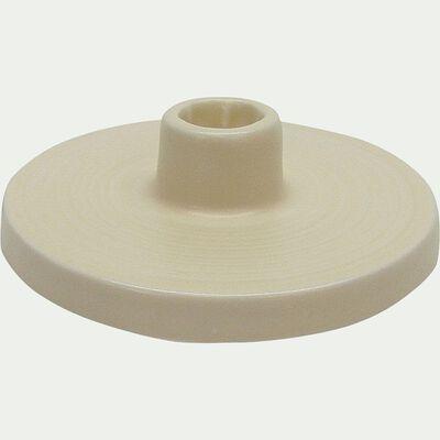 Bougeoir en céramique - beige D12xH5cm-PILEA