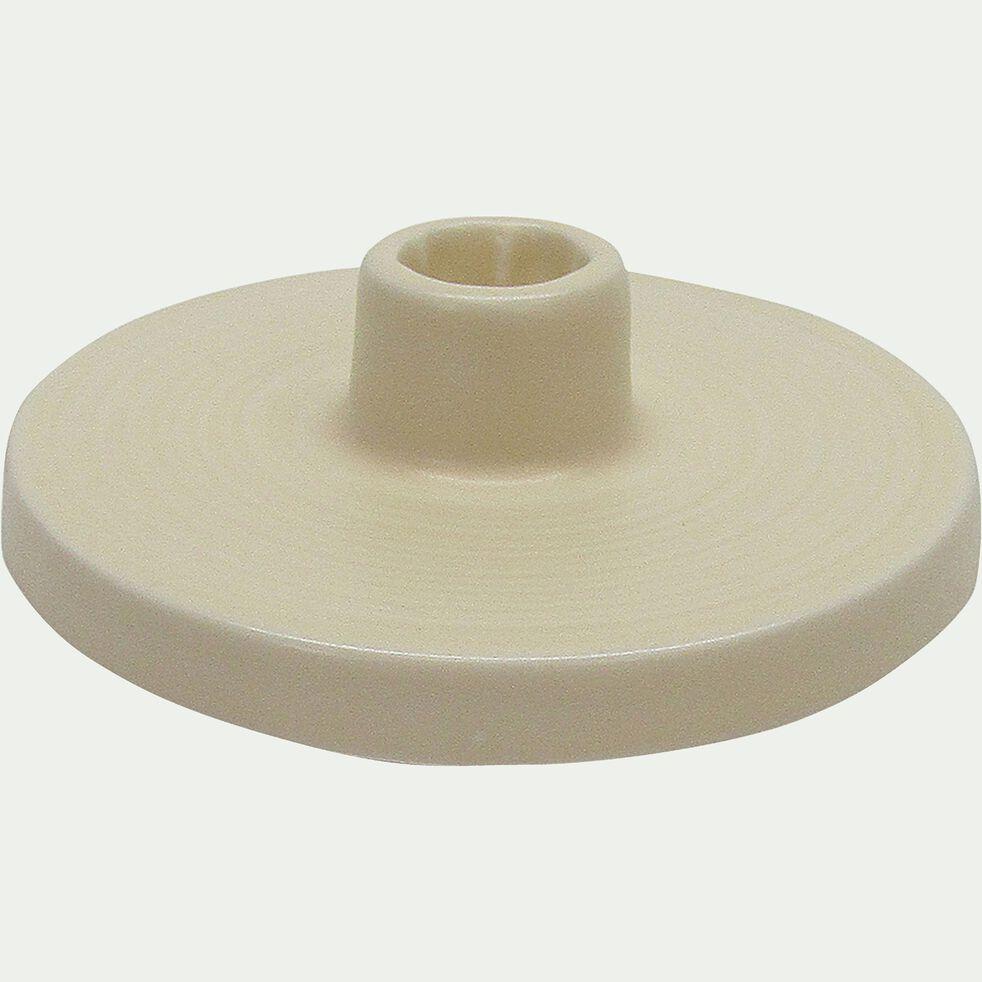 Bougeoir en céramique beige H5cm-PILEA