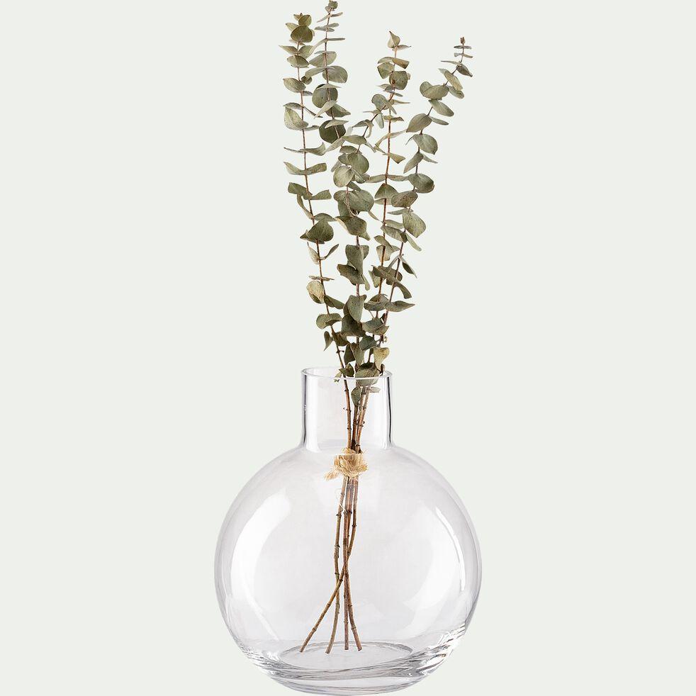 Vase boule fait-main en verre - transparent D14xH17cm-PLUMBAGO