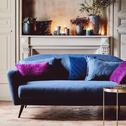 Canapé 3 places fixe en tissu bleu myrte-VENUS