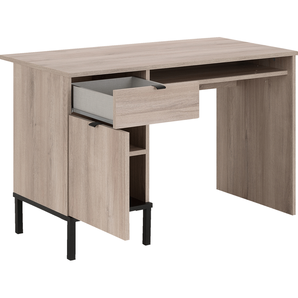 Bureau un tiroir et une porte finition chêne-CASTEL