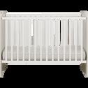 Lit bébé à barreaux finition cerisier blanchi avec sommier - 60x120 cm-BROOKLYN