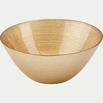 Coupelle en verre strié doré D15cm-ATENA