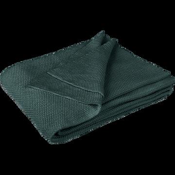 Plaid tricoté en coton vert cèdre 130x170cm-VERDON