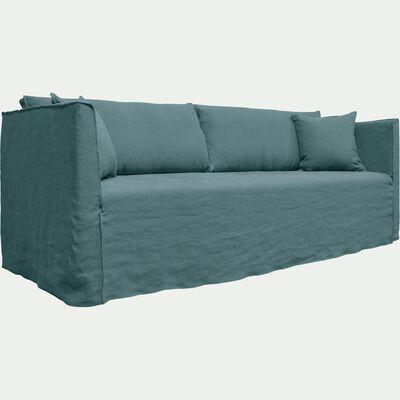 Canapé 5 places fixe en lin bleu calaluna-VENCE
