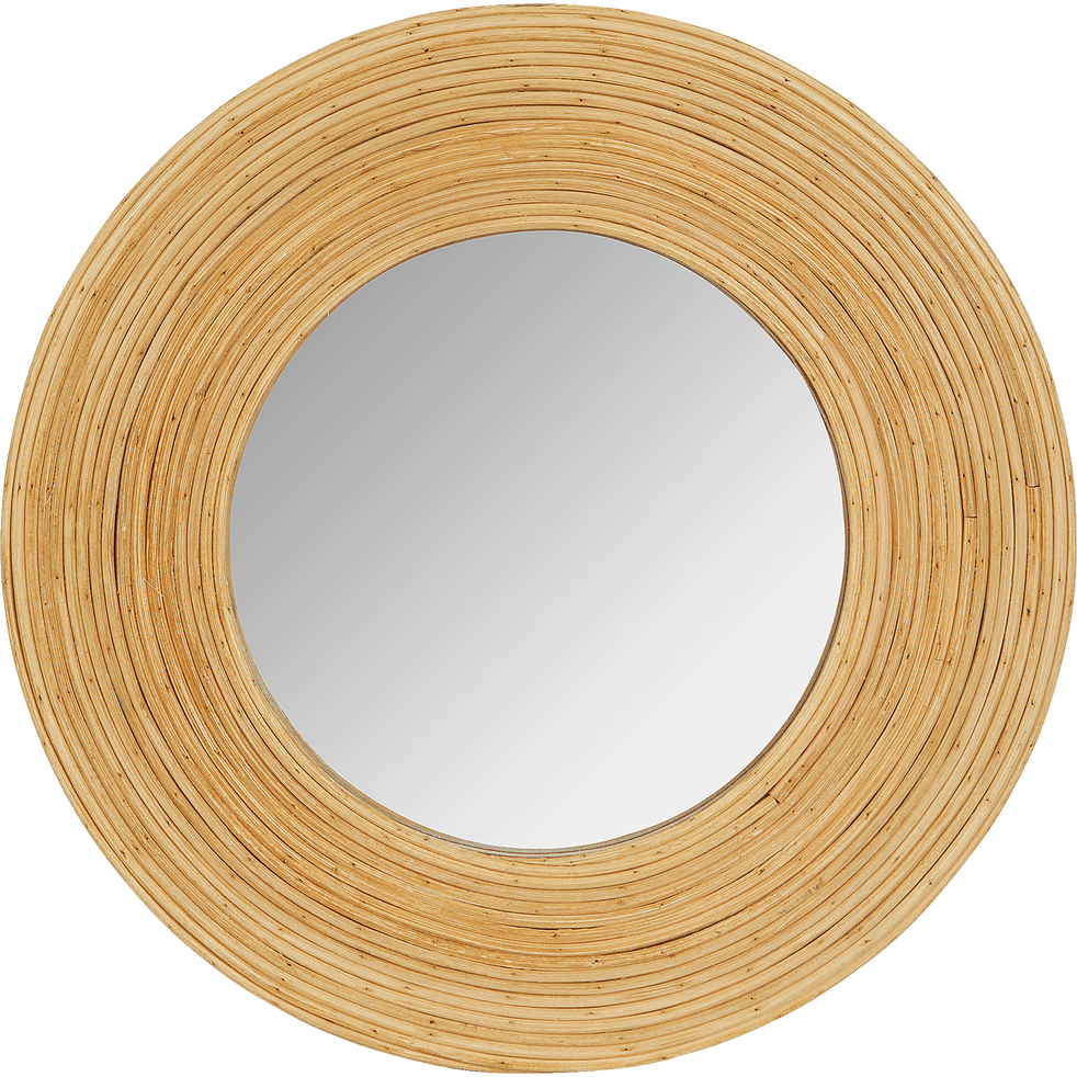 Miroir rond en bois naturel D30,5cm-Aster