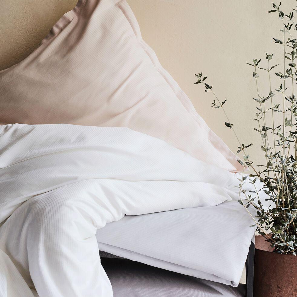 Drap plat rayé en satin de coton - gris borie 270x300cm-SANTIS