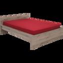 Lit 2 places avec tête de lit finition chêne cendré - 140x200 cm-BROOKLYN