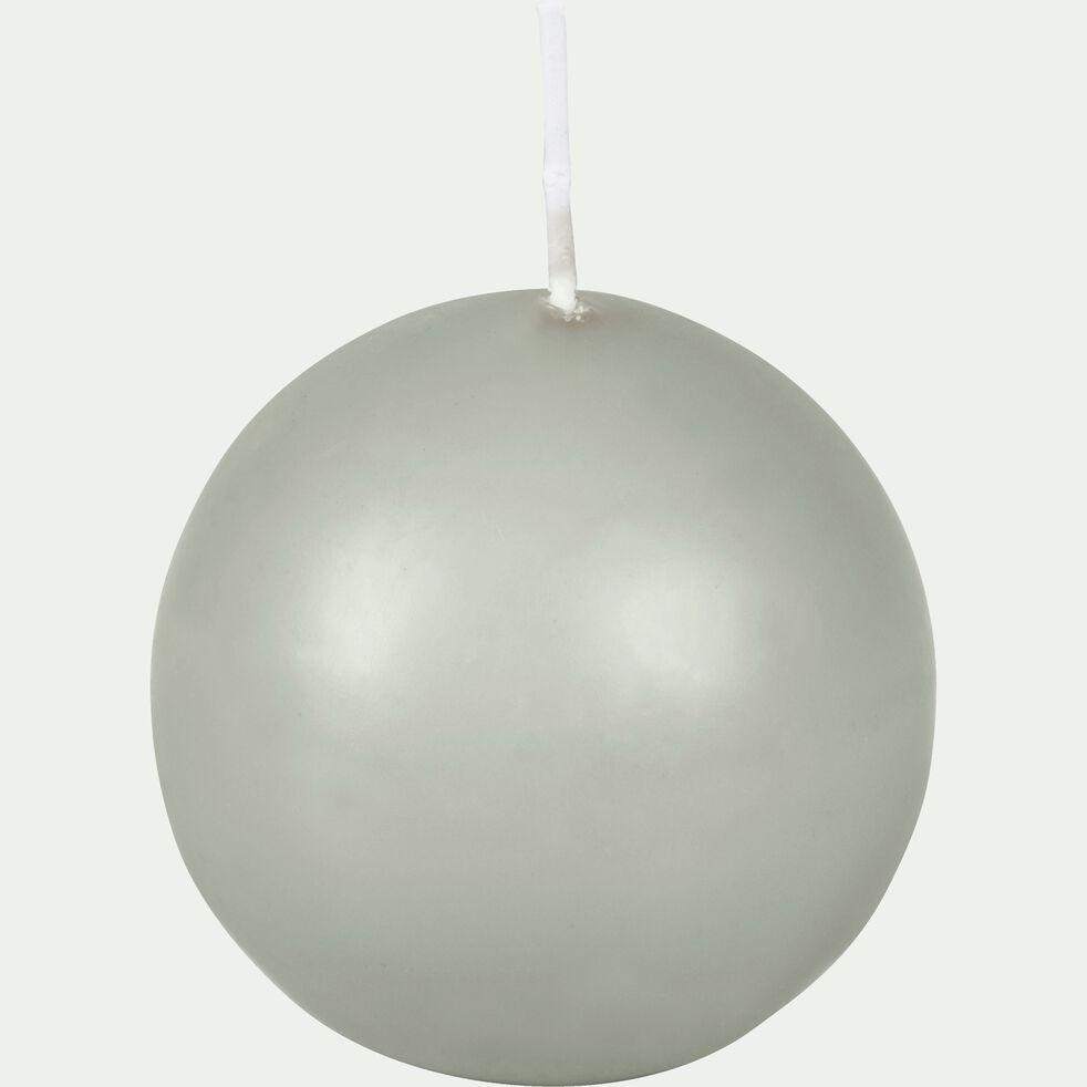 Bougie ronde vert olivier D6cm-HALBA