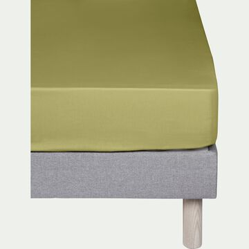 Drap housse en coton - vert garrigue 160x200cm B25cm-CALANQUES