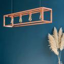 Suspension décorative 4 lumières en acier coloris cuivre L120cm-ORIS