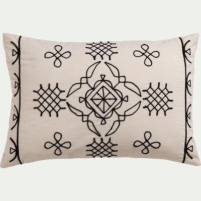 Coussin brodé en coton inspiration berbère - blanc écru 40x60cm-EGYPTIAN