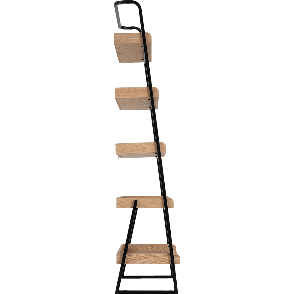 Etagère 5 tablettes plaquée frêne et métal noir L80cm-ESTANIER
