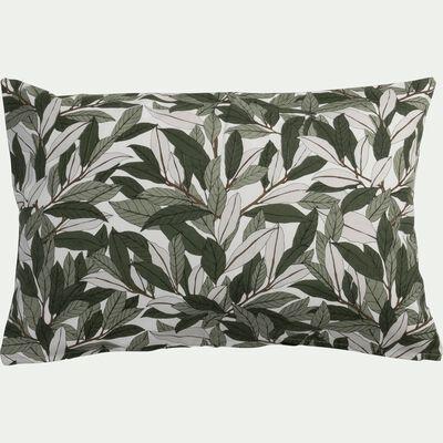 Coussin motif Laurier en coton - vert 40x60cm-LAURIER