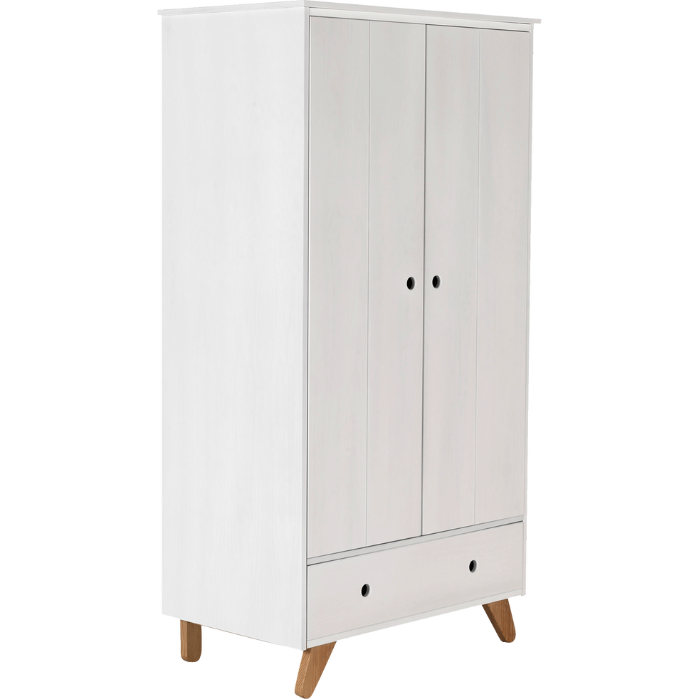 armoire 2 portes battantes et 1 tiroir en pin massif tipi armoires enfant alinea. Black Bedroom Furniture Sets. Home Design Ideas