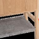 Commode 2 portes finitions frêne et rangement en feutrine Gris clair-THEOULE