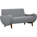 Canapé 2 places fixe rétro en tissu gris-BEAN