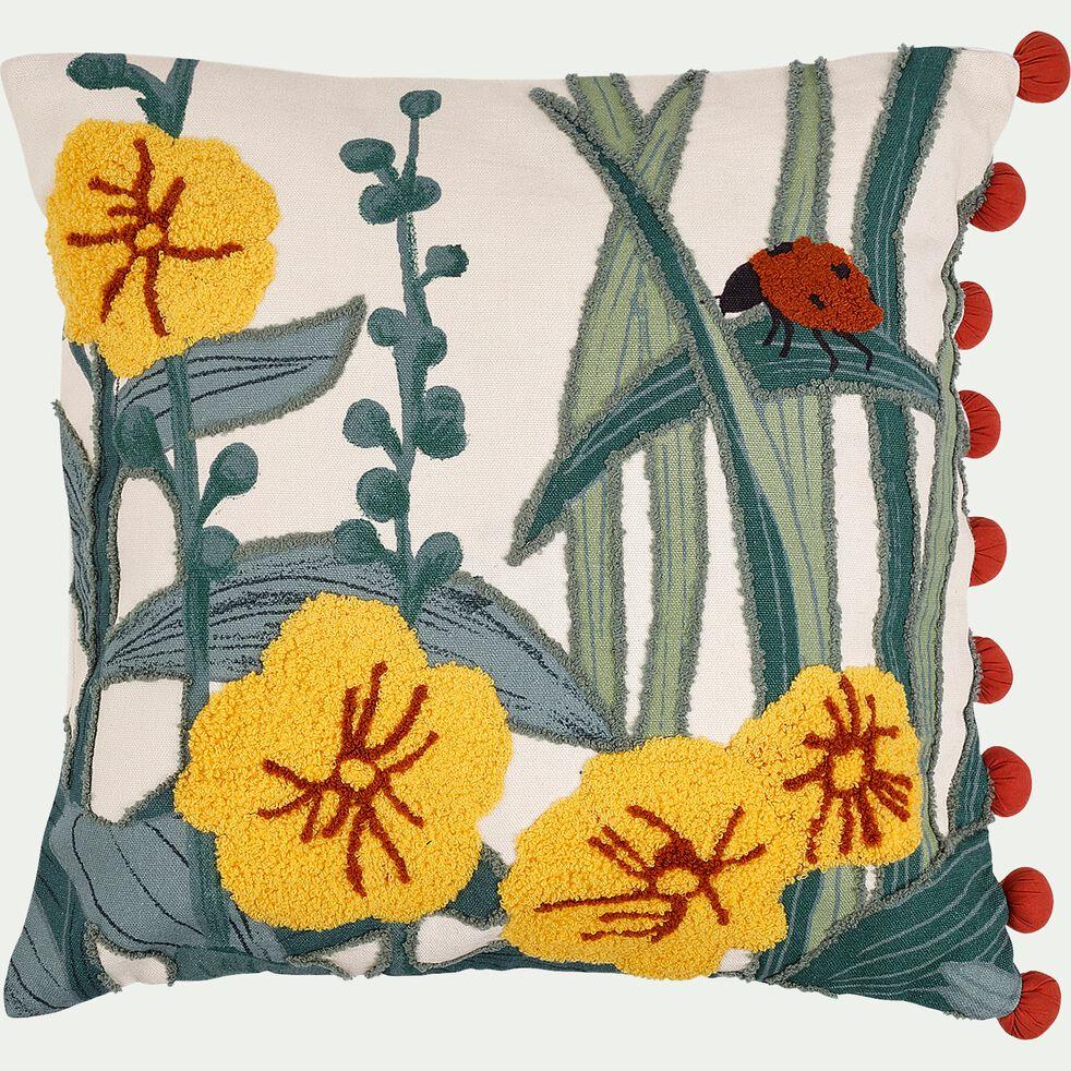 Coussin coton 40x40 cm - à motif-Pollen